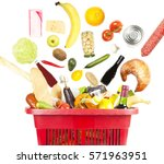lots of products in a shopping... | Shutterstock . vector #571963951
