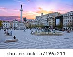 rossio square in lisbon... | Shutterstock . vector #571965211