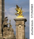 Small photo of Statues of the bridge of Alexander III