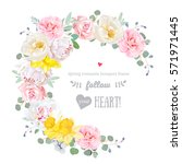 spring floral vector round... | Shutterstock .eps vector #571971445