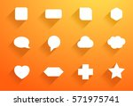 vector set of white icon shapes ... | Shutterstock .eps vector #571975741