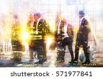 silhouettes of business people... | Shutterstock . vector #571977841