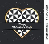 valentines day card  geometric... | Shutterstock .eps vector #571979005