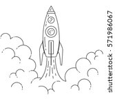 rocket takes off isolated on... | Shutterstock .eps vector #571986067