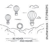 hot air balloon in sky under... | Shutterstock .eps vector #571986091