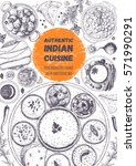 indian cuisine top view frame.... | Shutterstock .eps vector #571990291