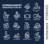 supermarket department icon set ... | Shutterstock .eps vector #572001421