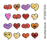 set of cute lovely emoticons.... | Shutterstock .eps vector #572007241