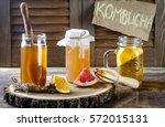 homemade fermented raw kombucha ... | Shutterstock . vector #572015131