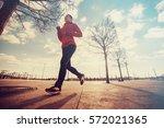 woman running. healthy sports...   Shutterstock . vector #572021365