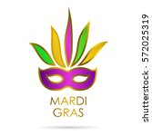 carnival mask with gold  green  ... | Shutterstock .eps vector #572025319