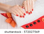 Red Manicure With Dekor And...