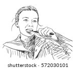 yooung woman brushing her teeth ... | Shutterstock .eps vector #572030101