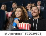 date night at the cinema. happy ... | Shutterstock . vector #572039575