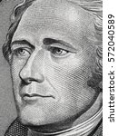 Small photo of Alexander Hamilton face on us ten dollar bill extreme macro, 10 usd, United States money closeup