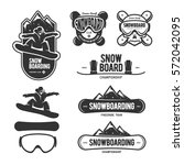 snowboarding labels set. winter ... | Shutterstock .eps vector #572042095