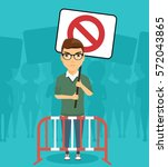 a protester at the rally with a ... | Shutterstock .eps vector #572043865
