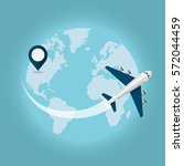 traveling around the world by... | Shutterstock .eps vector #572044459