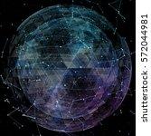 3d illuminated distorted sphere ... | Shutterstock . vector #572044981