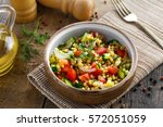 salad made of couscous with... | Shutterstock . vector #572051059