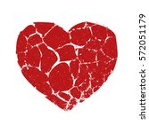 broken red heart isolated shape.... | Shutterstock .eps vector #572051179