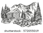 house in mountain landscape...   Shutterstock .eps vector #572055019