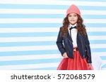 beautiful cute pretty little... | Shutterstock . vector #572068579