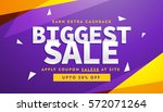 purple and yellow biggest sale... | Shutterstock .eps vector #572071264