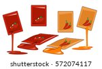 chili and tomatoes packaging... | Shutterstock .eps vector #572074117