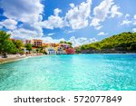 assos beach in kefalonia ... | Shutterstock . vector #572077849