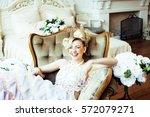 beauty emotional blond bride in