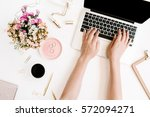 top view office desk. workspace ...   Shutterstock . vector #572094271