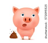 confused pig cartoon character... | Shutterstock .eps vector #572095525