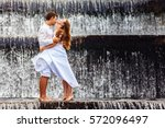happy family on honeymoon...   Shutterstock . vector #572096497