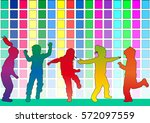 dancing children. silhouettes... | Shutterstock .eps vector #572097559