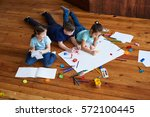 children drawing together | Shutterstock . vector #572100445