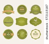 set of natural label and... | Shutterstock .eps vector #572115187