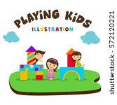kids playing illustration ... | Shutterstock .eps vector #572120221