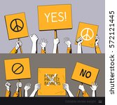 people protest with banners.... | Shutterstock .eps vector #572121445
