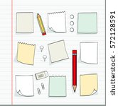 set of hand drawn  note papers... | Shutterstock .eps vector #572128591