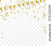confetti and flag gold ribbons  ... | Shutterstock .eps vector #572132245