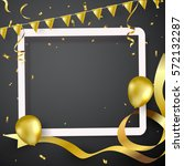 confetti and flag gold ribbons  ... | Shutterstock .eps vector #572132287