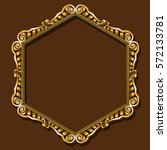 frame gold color with shadow on ... | Shutterstock .eps vector #572133781