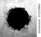 explosion hole in concrete...   Shutterstock . vector #572133865