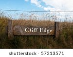 Wooden Cliff Edge Warning Sign...