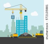 construction worker and building | Shutterstock .eps vector #572135881