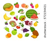 fresh fruits icons set.... | Shutterstock .eps vector #572154421