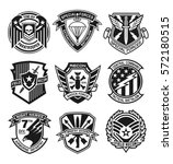 military patch emblem badges | Shutterstock .eps vector #572180515