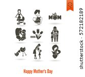 happy mothers day simple flat... | Shutterstock .eps vector #572182189