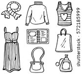 doodle of clothes set women... | Shutterstock .eps vector #572185999